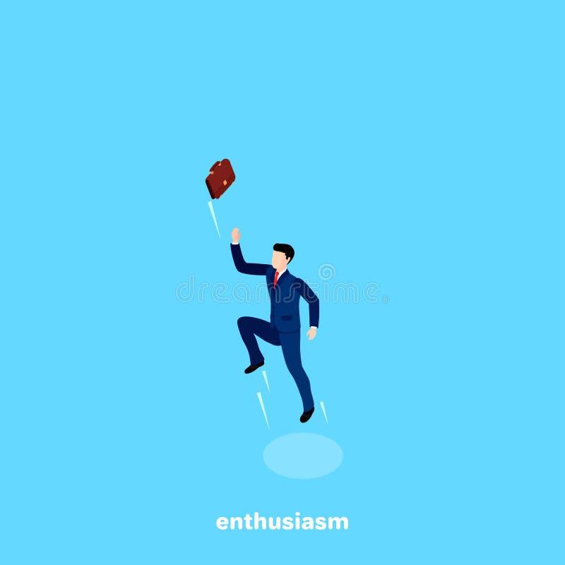 L'homme dans un costume a sauté haut et a jeté la serviette dans le ciel illustration libre de droits