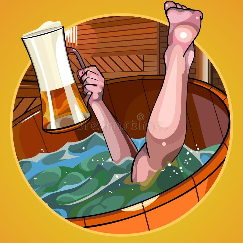 L'homme de bande dessinée avec de la bière plonge à disposition dans le bain illustration stock
