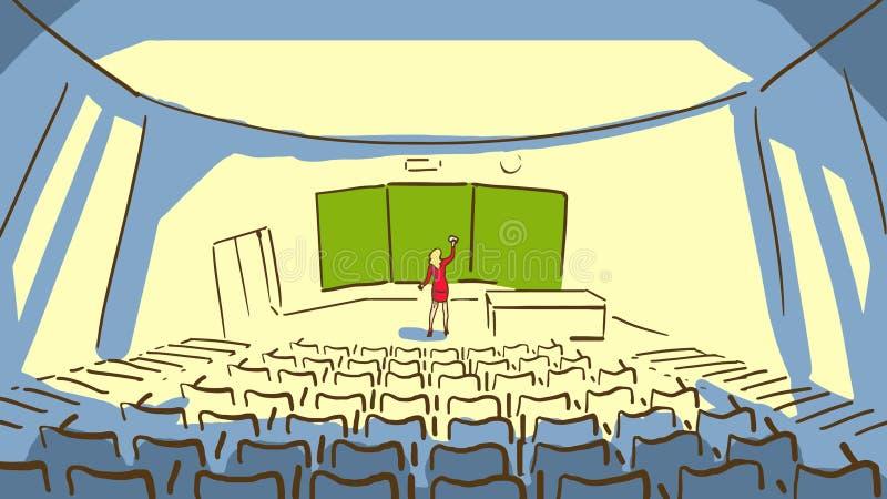 L'homme de bande dessinée avec des lunettes se reposant au bureau près de la fenêtre et travaillant à la femme de LaptopCartoon e illustration libre de droits