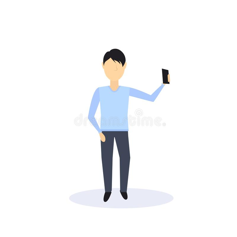 L'homme de brune faisant la pose de position de selfie a isolé l'appartement intégral de personnage de dessin animé masculin sans illustration libre de droits