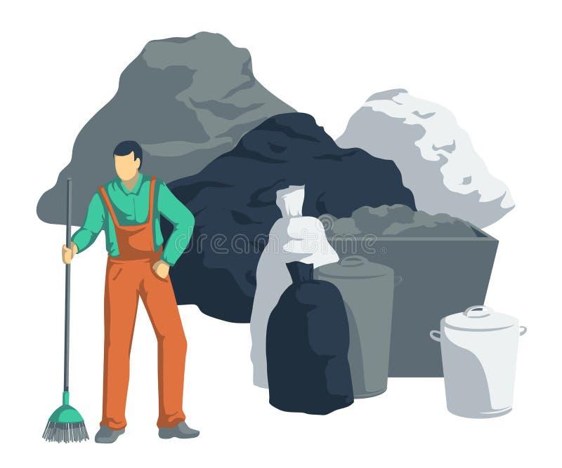 L'homme de déchets nettoient la pile des déchets Sacs, boîtes, poubelles, récipients de déchets Objets d'isolement sur le fond bl illustration libre de droits