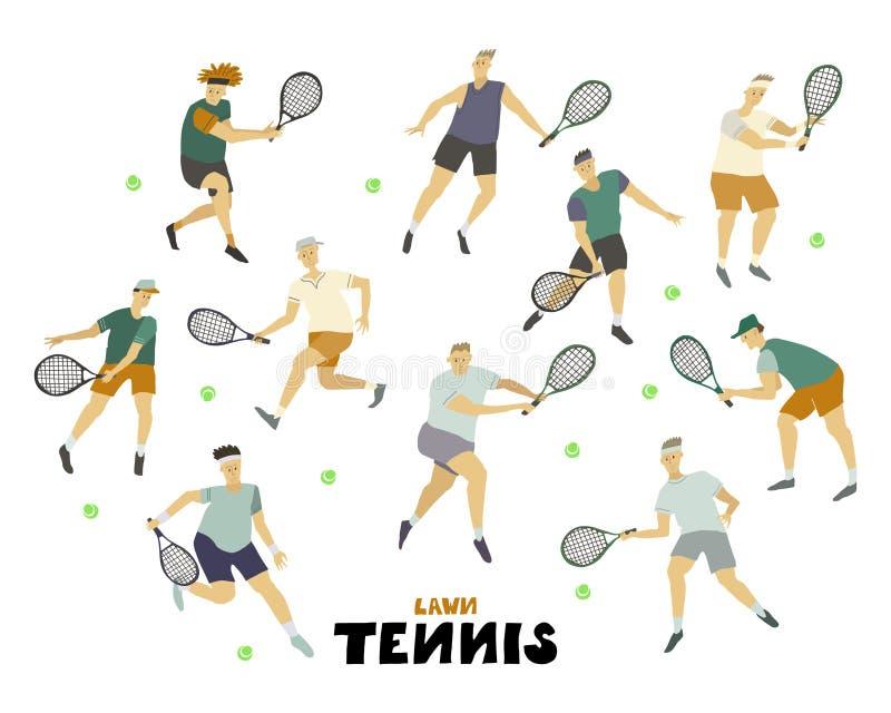 L'homme de joueur de tennis a placé des types de garçon avec le chiffre humain de raquette et de boule dans le mouvement illustration stock