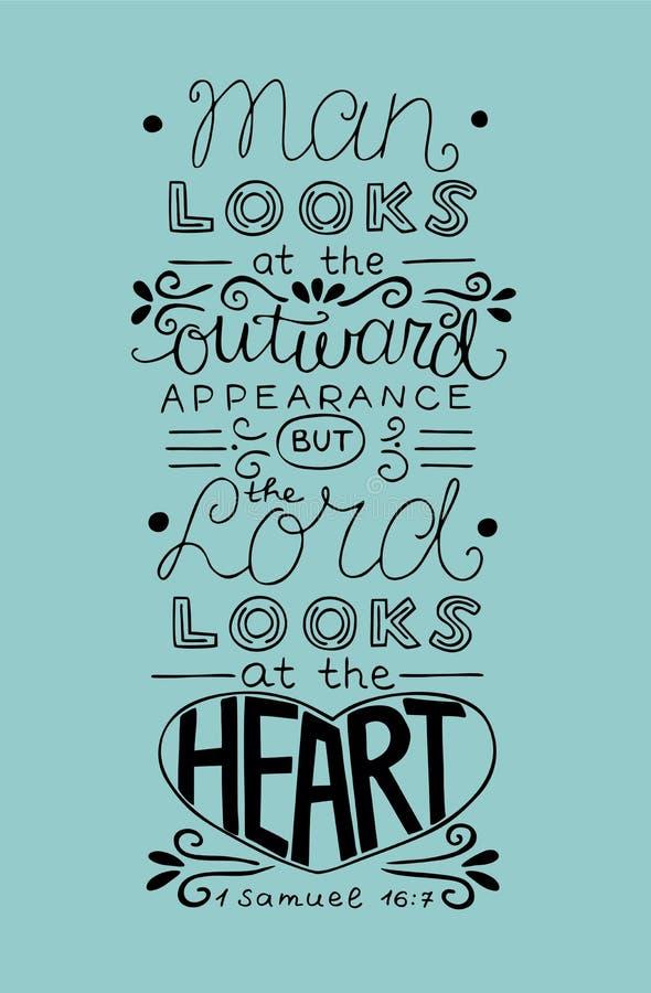 L'homme de lettrage de main regarde l'aspect extérieur, mais les regards de seigneur le coeur illustration de vecteur