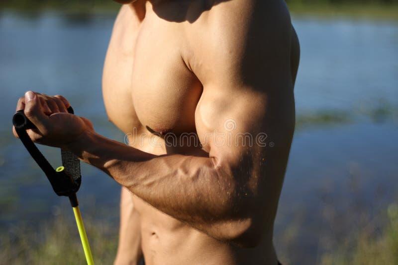L'homme de niveau centimétrique musculaire tire les bandes élastiques image libre de droits