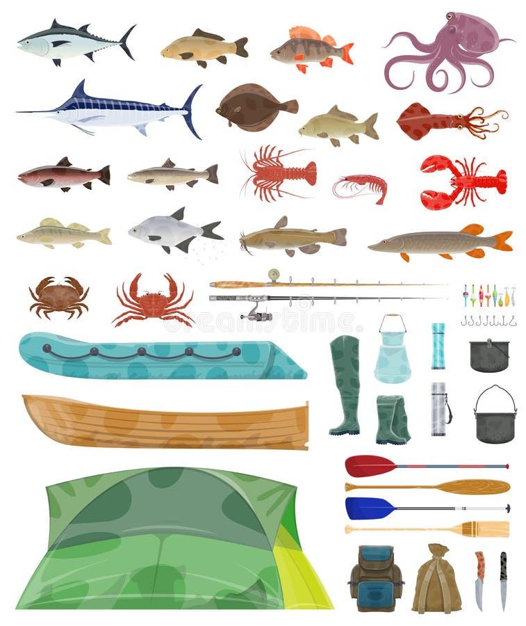 L'homme de pêcheur de vecteur usine des icônes d'articles de pêche illustration stock