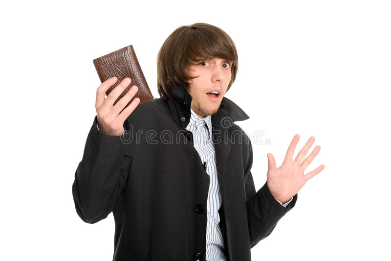 L'homme de panique a donné sa pochette images stock