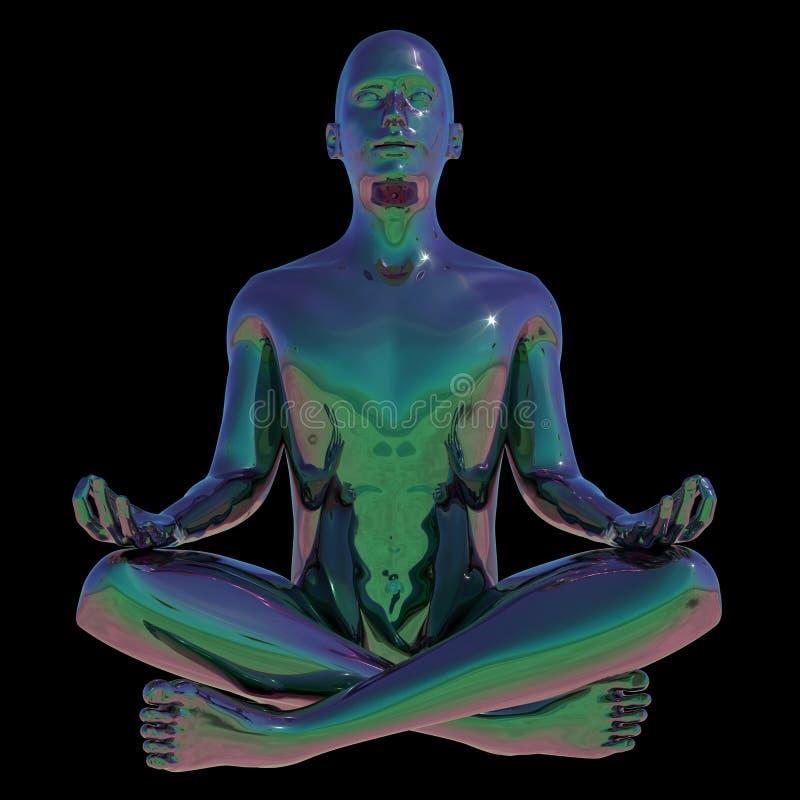 L'homme de pose de lotus de yoga a stylisé la relaxation mentale humaine illustration stock
