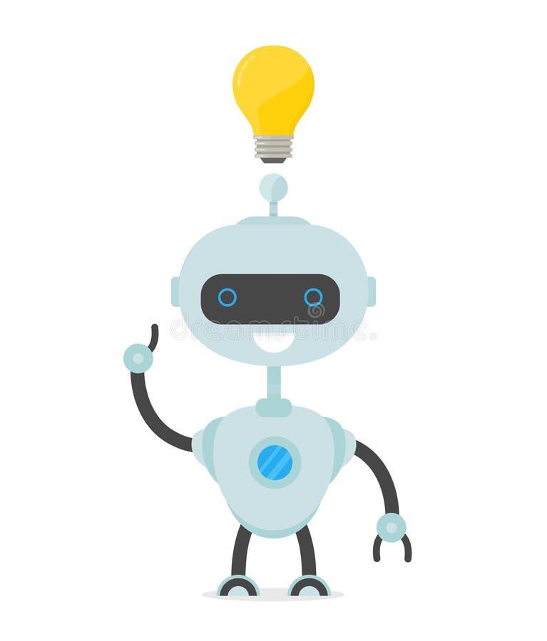 L'homme de robot ont l'idée Ampoule au-dessus de la tête illustration de vecteur