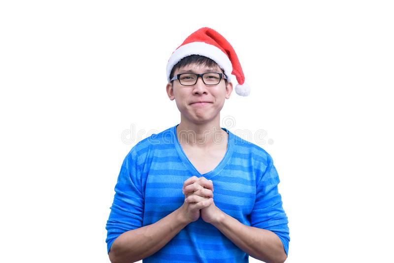 L'homme de Santa Claus d'Asiatique avec les lunettes et la chemise bleue a pour parler en faveur a photos libres de droits
