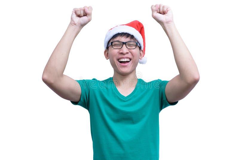 L'homme de Santa Claus d'Asiatique avec les lunettes et la chemise verte a très h image stock
