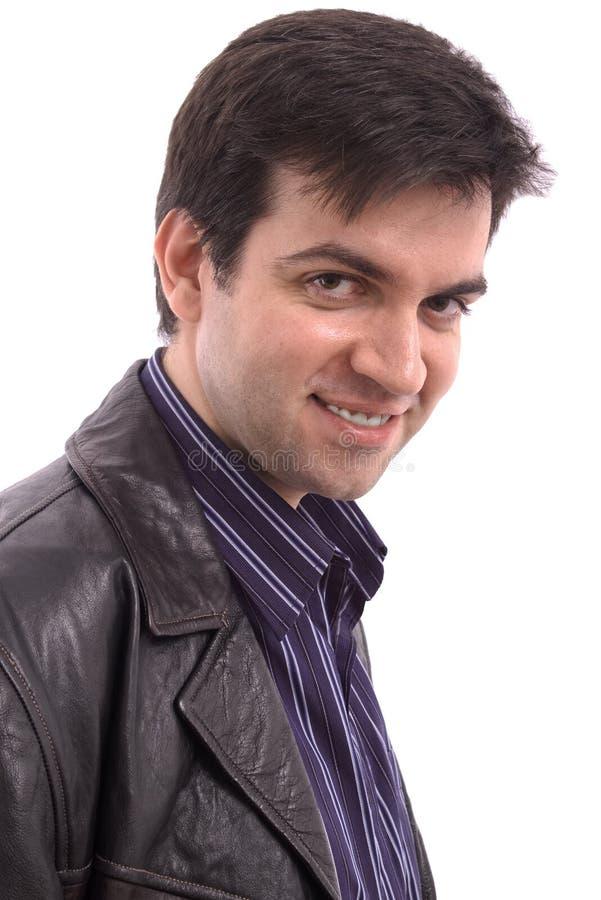 L'homme de sourire isoalted au-dessus d'un fond blanc photo libre de droits