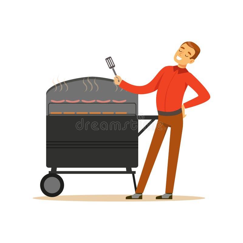 L'homme de sourire préparant des saucisses et les biftecks sur un gril de barbecue dirigent l'illustration illustration stock