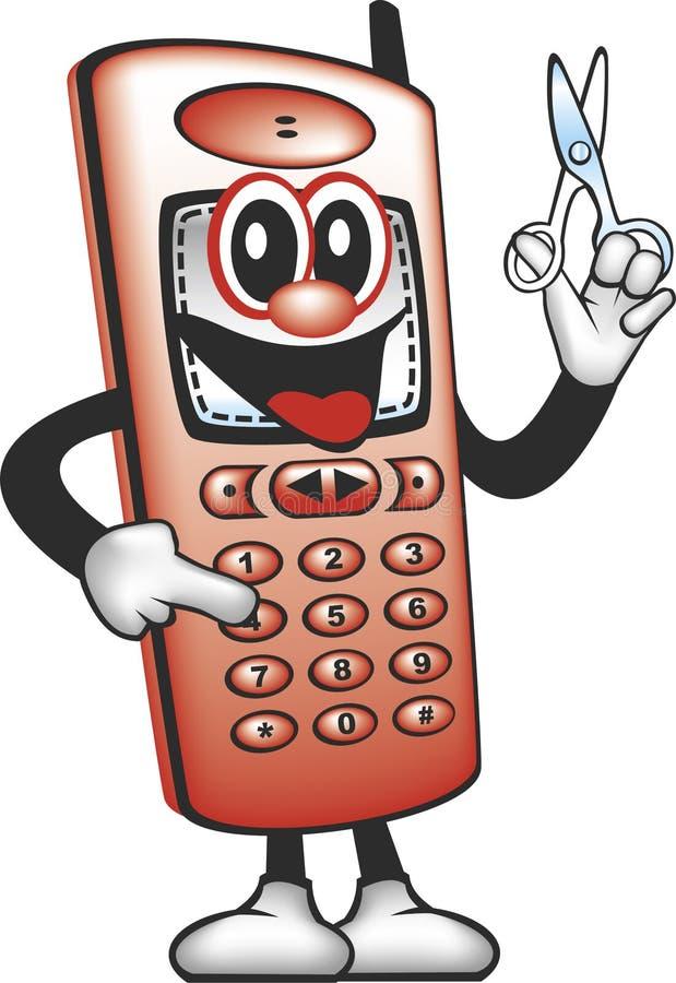 L'homme de tondeuse de téléphone portable illustration de vecteur