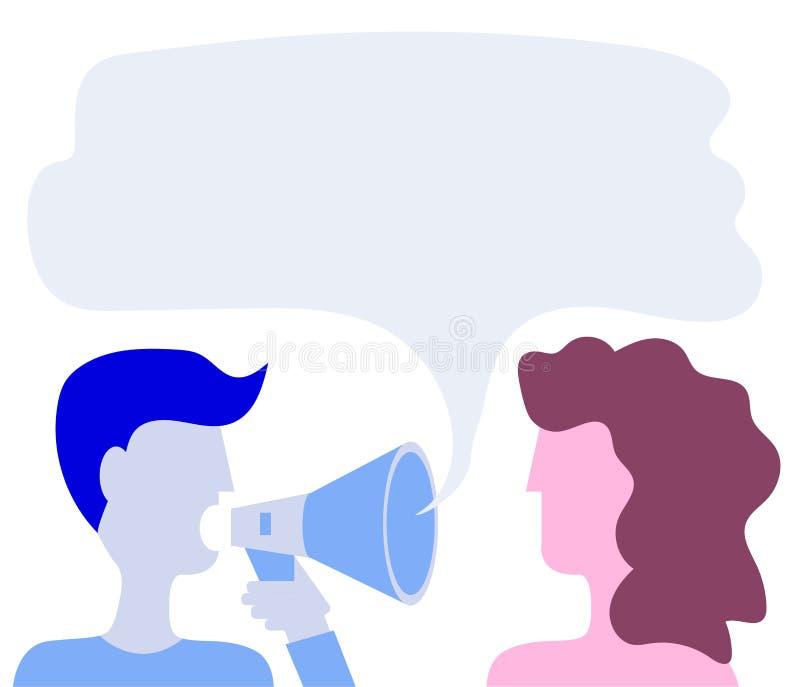 L'homme dit des cris dans un cri Une femme écoute Dites un ami Style plat Vecteur illustration libre de droits