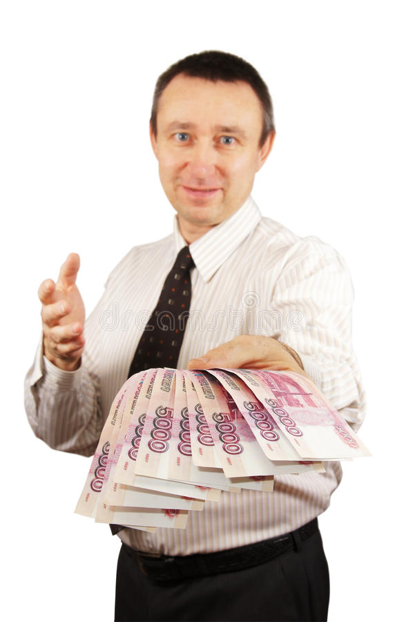 L'homme a donné un paquet d'argent images libres de droits