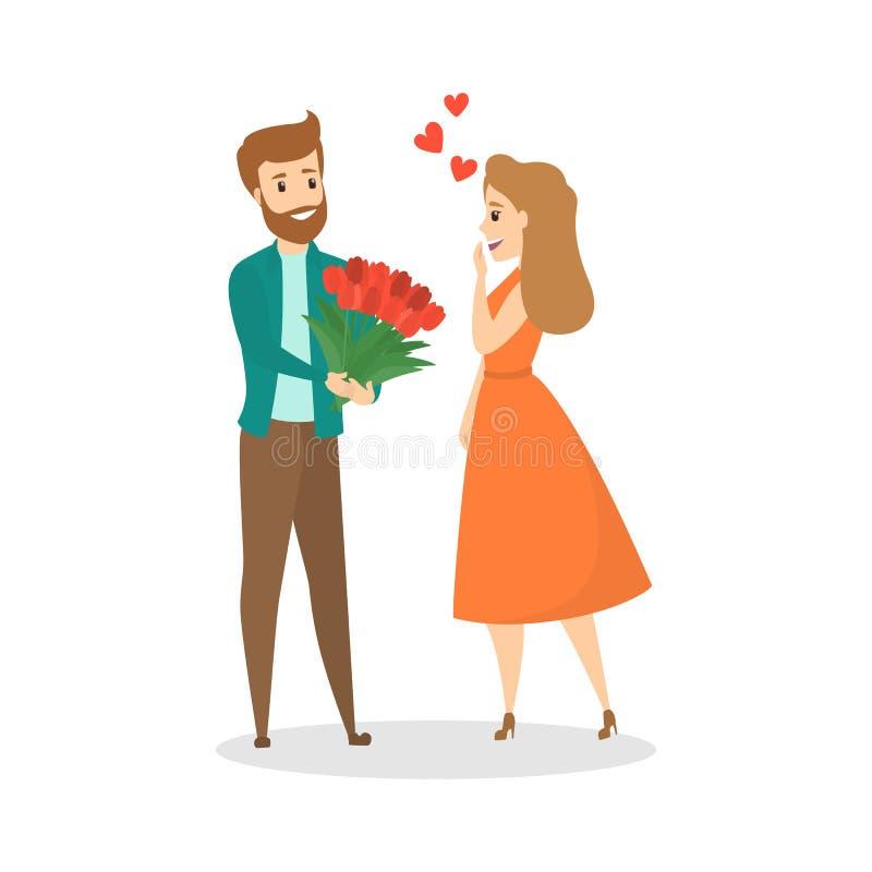 L'homme donne à son amie le beau bouquet de fleur illustration de vecteur