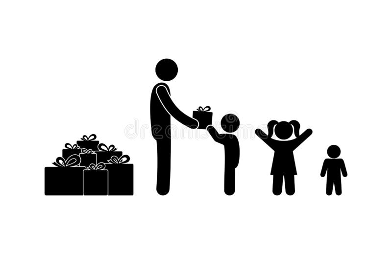 L'homme donne des présents aux enfants, illustration de vacances de chiffre de bâton illustration de vecteur