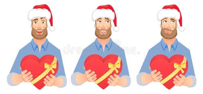 L'homme donne l'ensemble de coeur illustration de vecteur