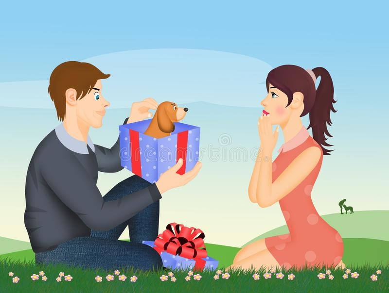 L'homme donne un chiot à son amie illustration de vecteur