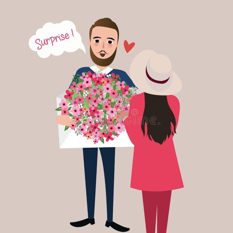 L'homme donnent l'illustration de vecteur de surprise de bouquet de fleur de fille illustration stock
