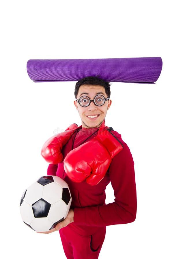 L'homme drôle dans le concept de sports sur le blanc photos stock