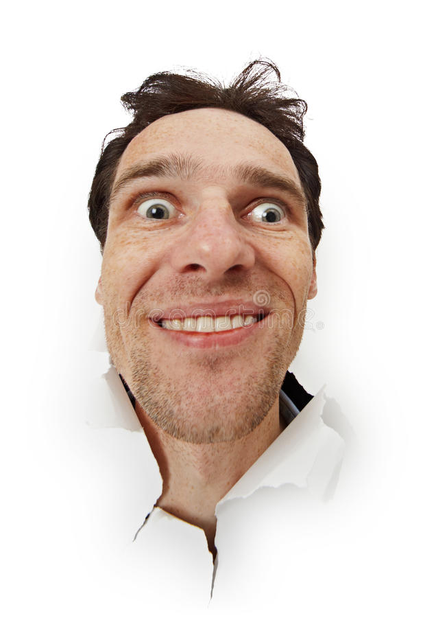L'homme drôle fol a ouvert ses yeux image libre de droits