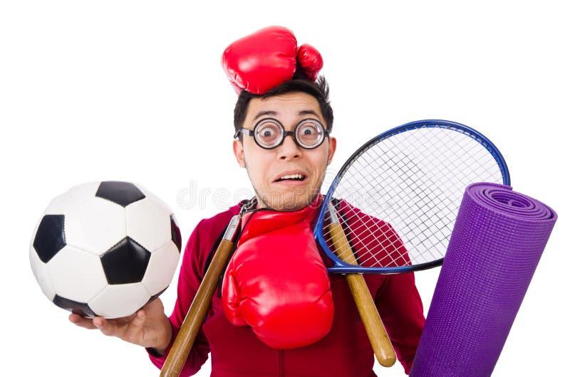 L'homme dr?le dans le concept de sports sur le blanc photographie stock libre de droits