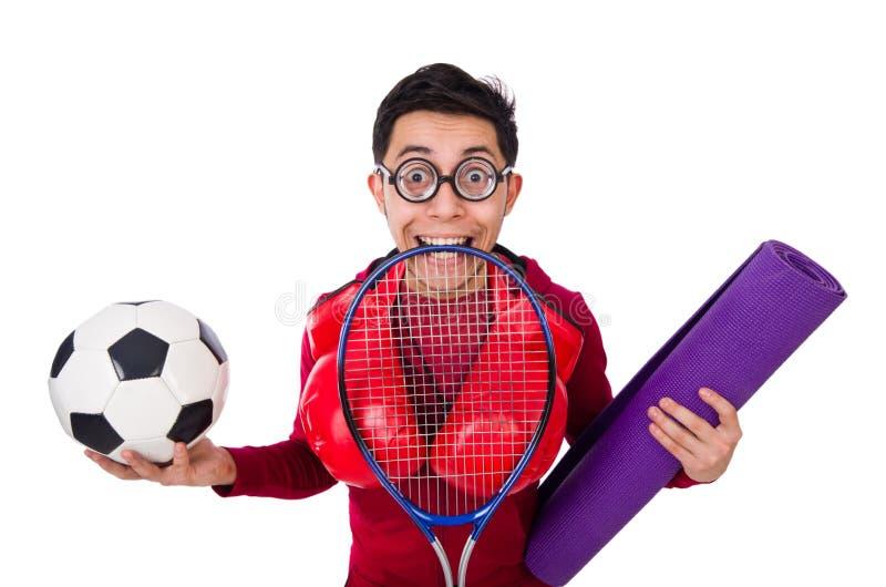 L'homme dr?le dans le concept de sports sur le blanc photo libre de droits