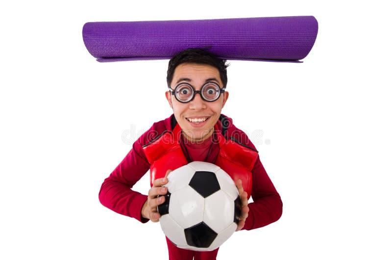 L'homme dr?le dans le concept de sports sur le blanc photos stock