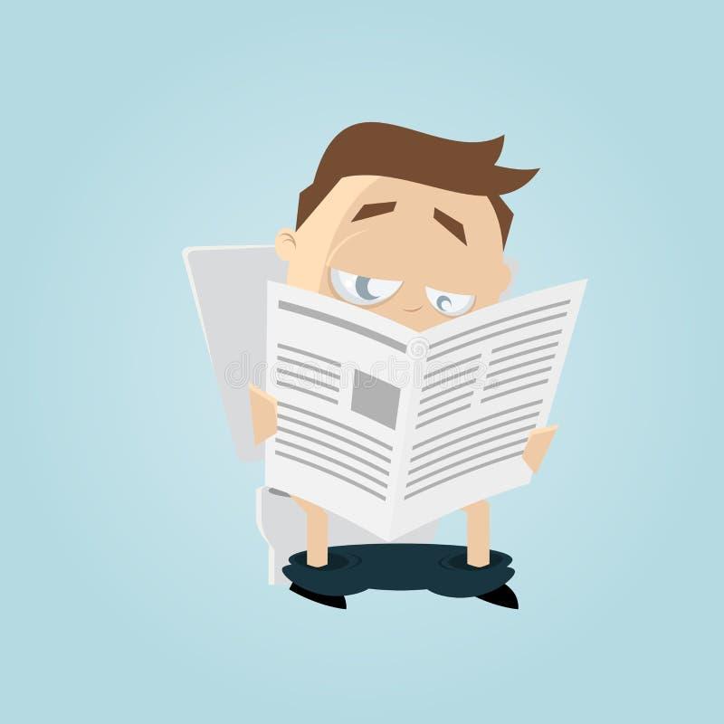 L'homme drôle de bande dessinée lit le journal sur la toilette illustration stock