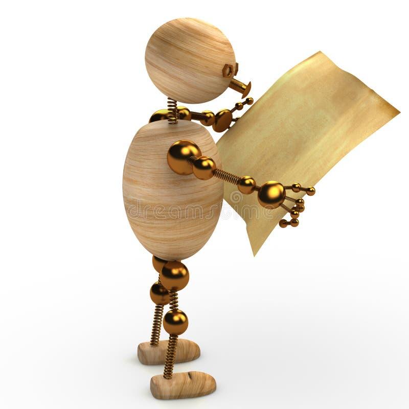 L'homme en bois affichant le journal 3d a rendu illustration stock