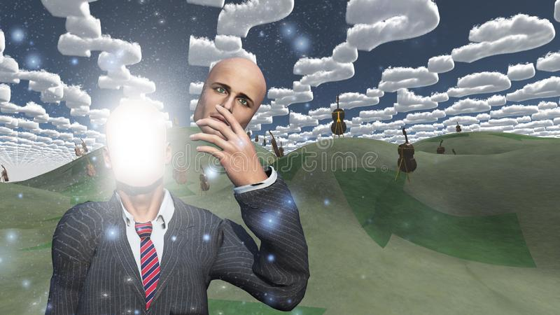 L'homme enlève le visage montrant la lumière dans le paysage avec des violoncelles illustration libre de droits