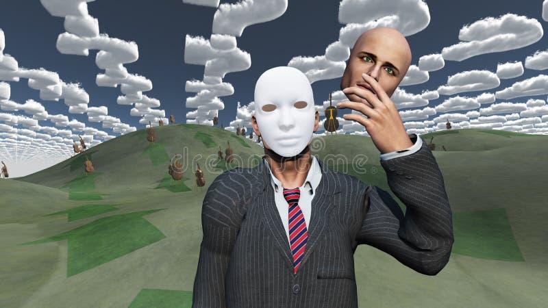 L'homme enlève le visage pour indiquer le masque dessous illustration libre de droits
