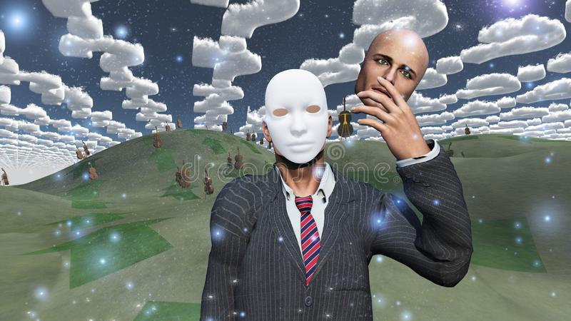 L'homme enlève le visage pour indiquer le masque illustration de vecteur