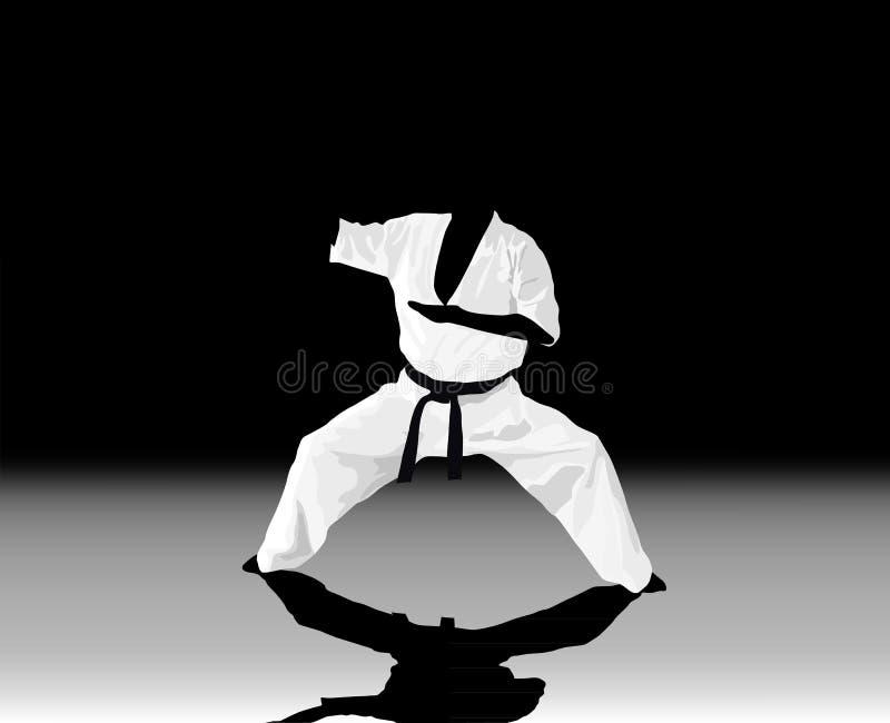 l'homme est engagé dans le karaté sur un blanc noir illustration stock