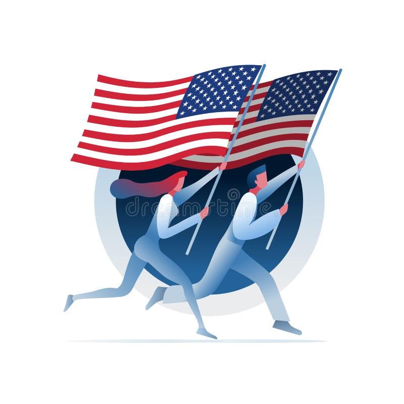 L'homme et la femme courent avec des drapeaux des Etats-Unis illustration de vecteur