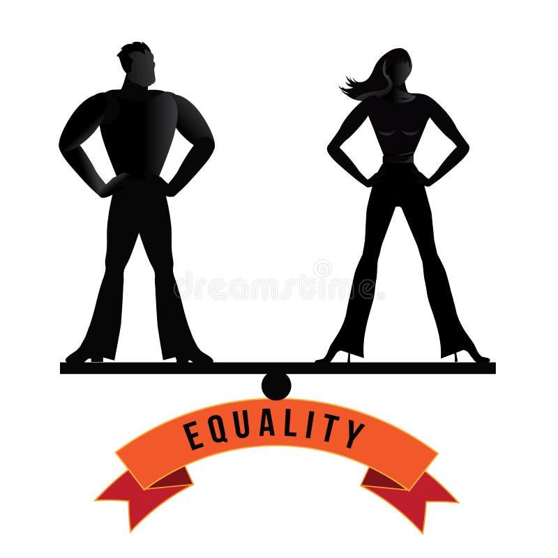 L'homme et la femme d'égalité équilibrent le vecteur d'ENV 10 illustration libre de droits