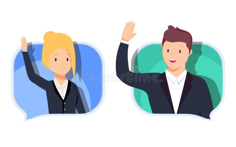 L'homme et la femme d'affaires communiquent Causant avec le chatbot au téléphone, conversation en ligne avec le message textuel illustration libre de droits