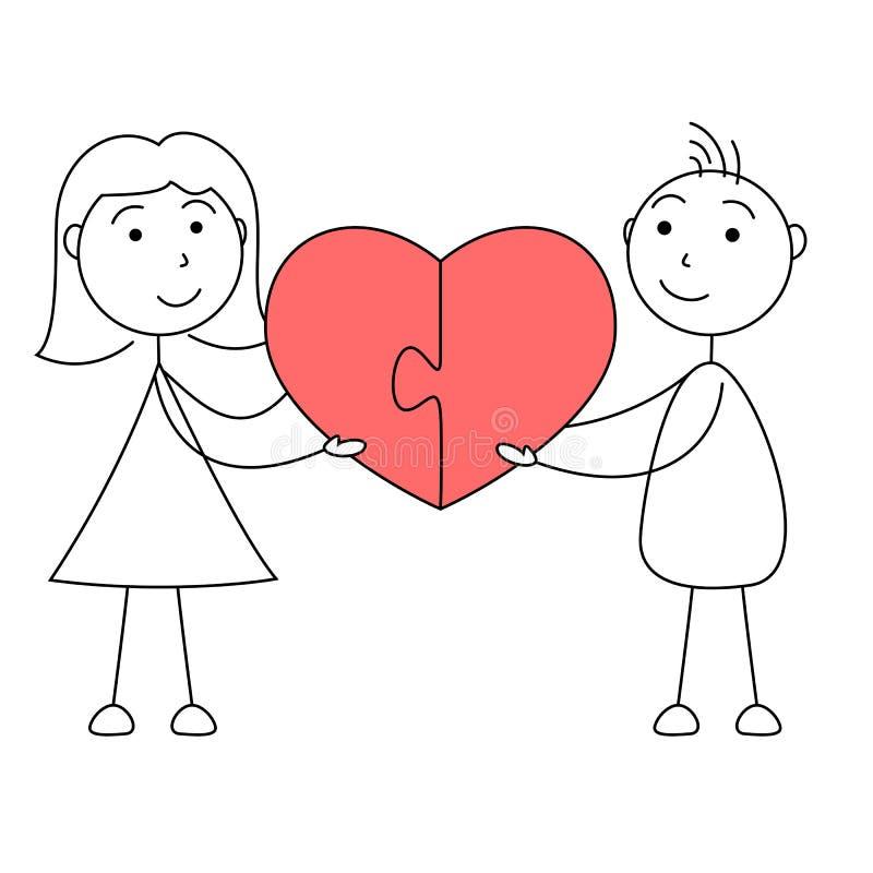 L'homme et la femme de bande dessinée collent des chiffres joignant le puzzle du coeur illustration libre de droits