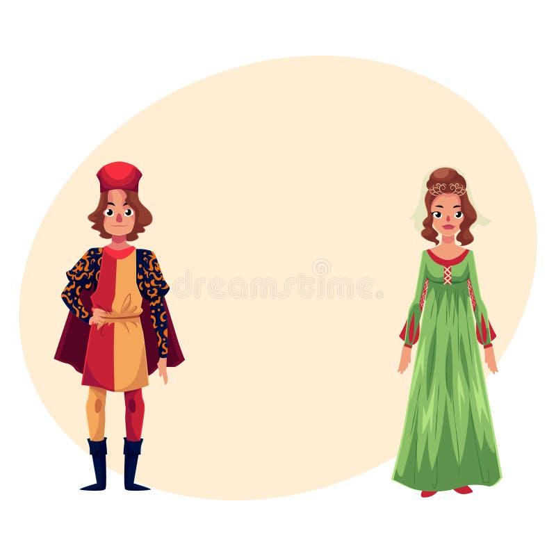 L'homme et la femme italiens dans la Renaissance chronomètrent des costumes, habillement illustration de vecteur
