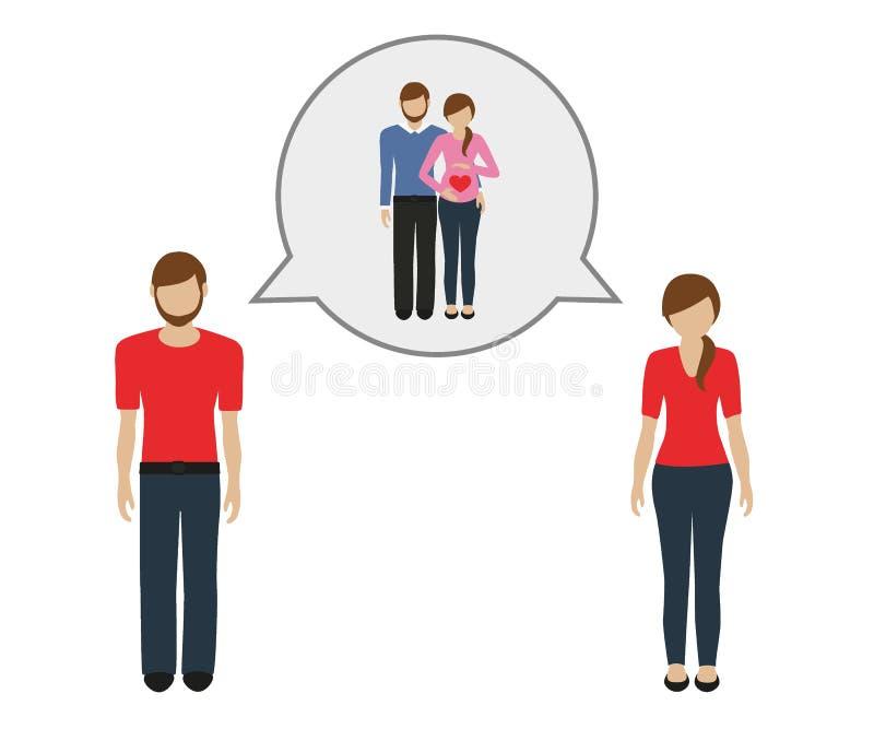 L'homme et la femme parlent de la grossesse illustration de vecteur