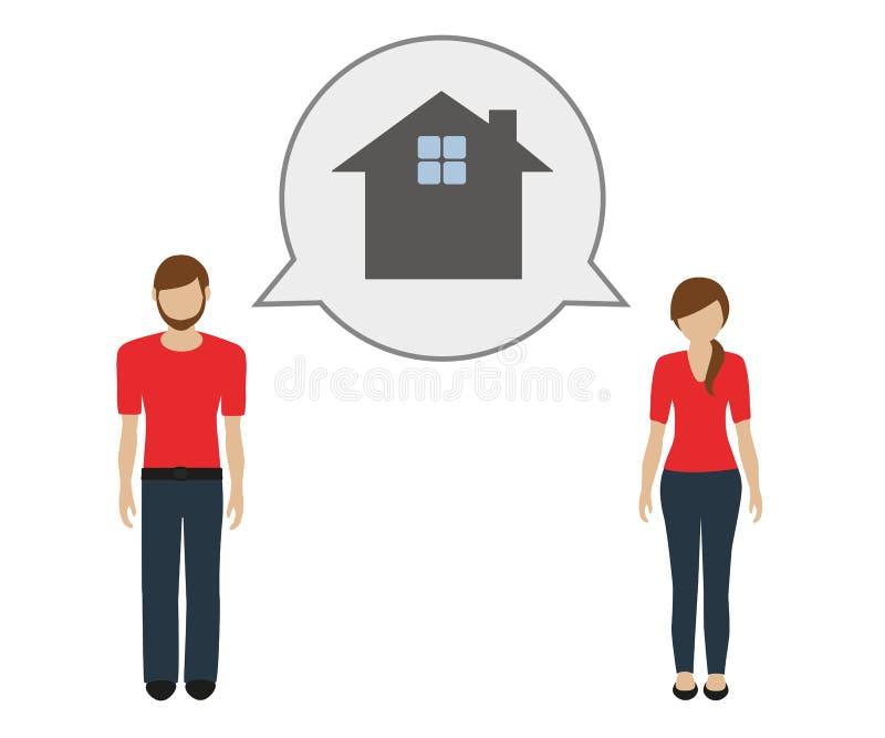 L'homme et la femme parlent de la maison illustration stock