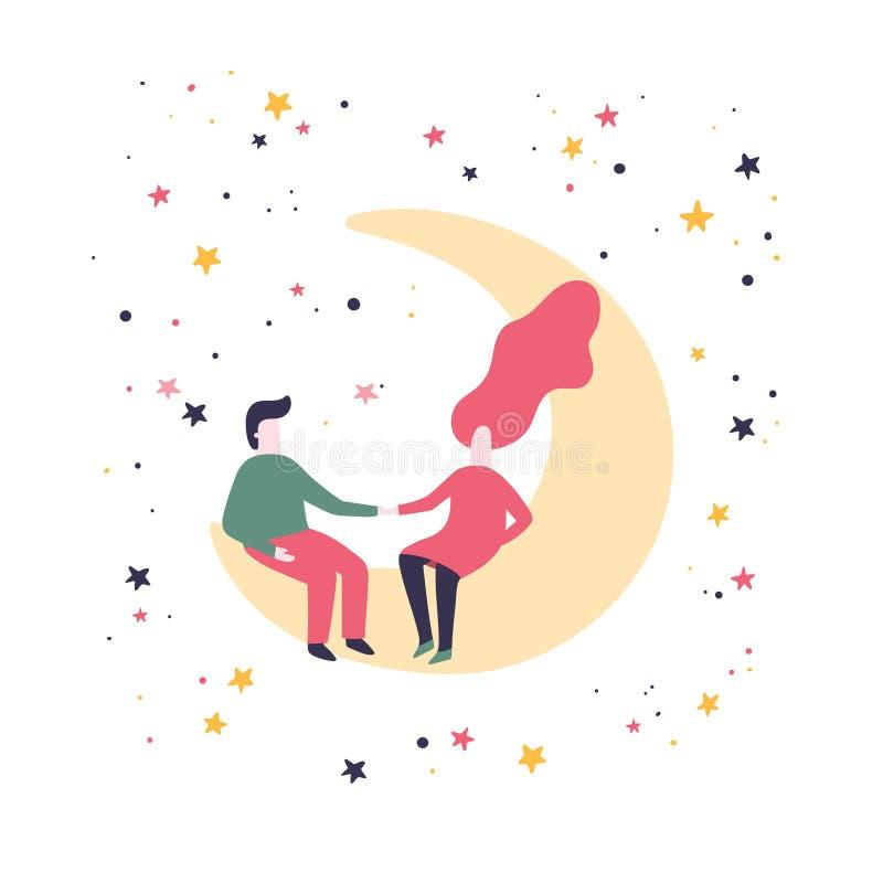 L'homme et la femme s'asseyent sur la lune Couples romantiques dans un style plat l'illustration s de coeur de vert de dreamstime illustration de vecteur