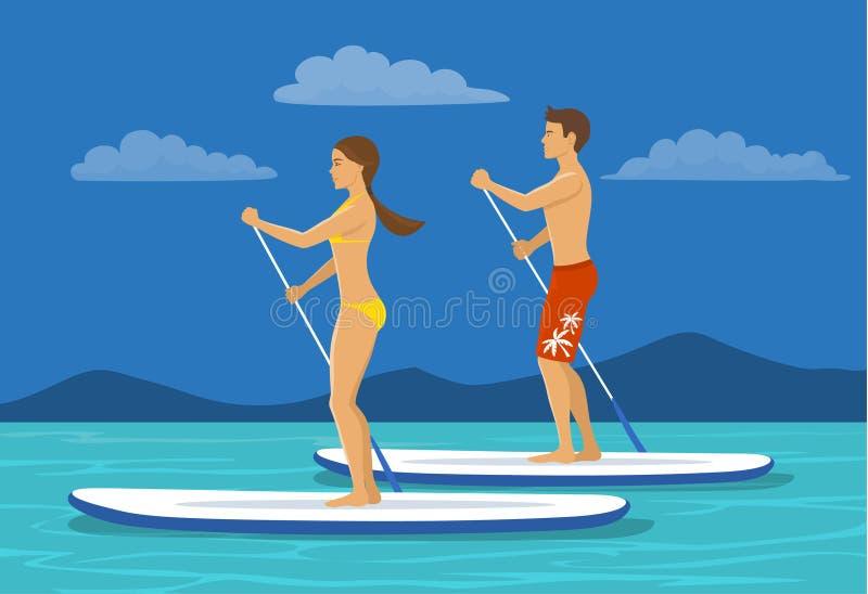 L'homme et la femme se tiennent barbotants illustration libre de droits