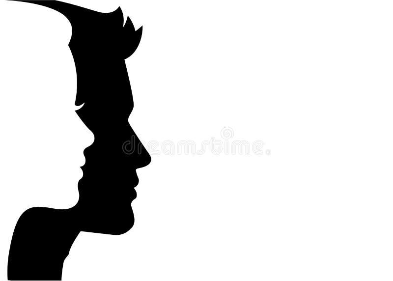 L'homme et la femme silhouettent le visage sur le visage - vecteur illustration libre de droits