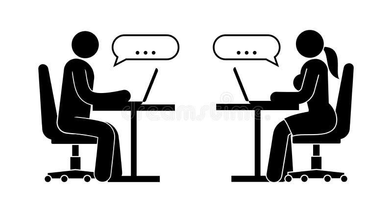 L'homme et la femme sont des messages d'échange illustration stock