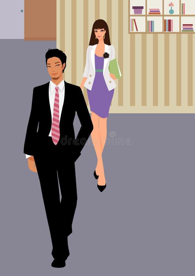 L'homme et le femme d'affaires marchent pour travailler avec la serviette illustration stock