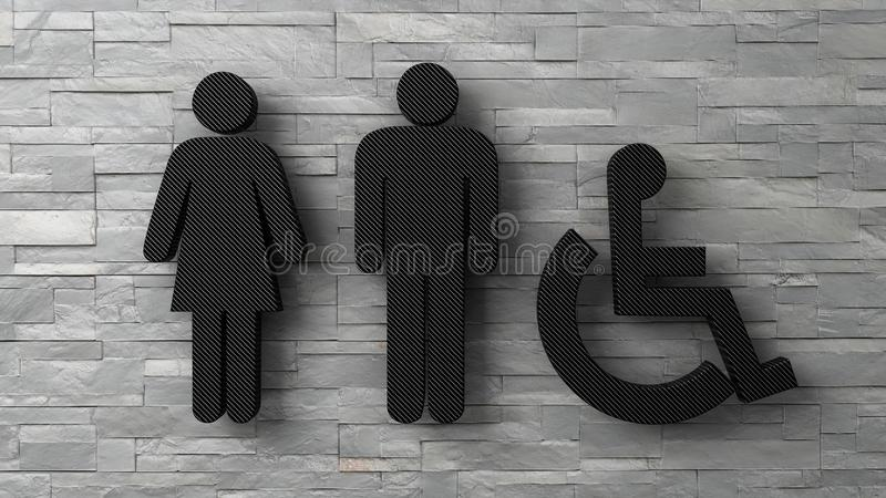 l'homme et le handicapé de femme de la toilette 3d se connecte le mur de briques blanc illustration stock