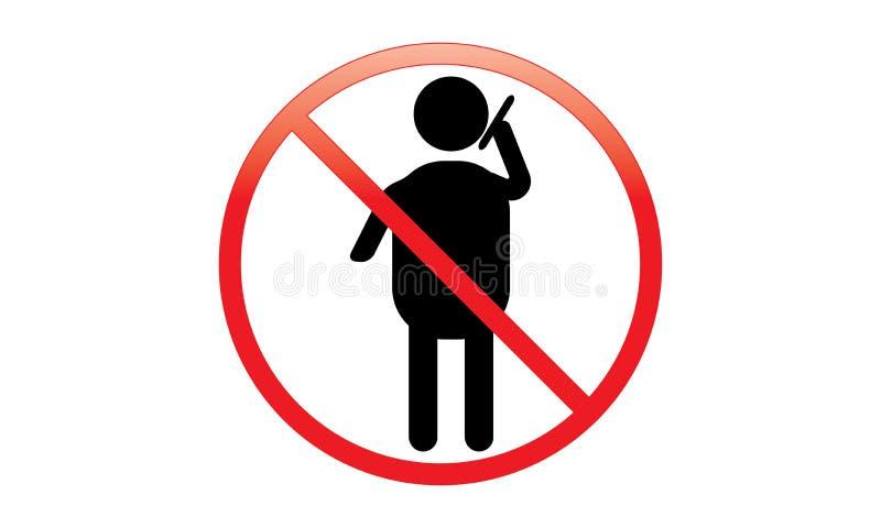 L'homme et le téléphone - outre du signe mobile - coupent l'icône de téléphone - aucun symbole d'avertissement mobile permis par  illustration libre de droits