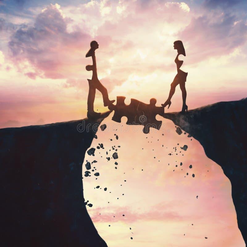 L'homme et les femmes viennent ensemble illustration libre de droits